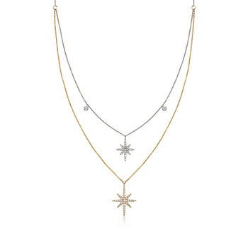 .34 ct. t.w. Diamond Double Star Necklace in 14kt Two-Tone Gold