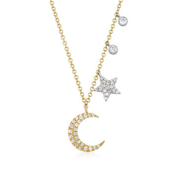 .19 ct. t.w. Pave Diamond Moon and Star Necklace in 14kt Two-Tone Gold