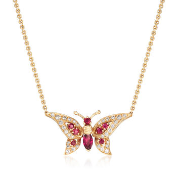 C. 1980 Vintage .75ct t.w. Ruby, .40ct t.w. Diamond Butterfly Necklace