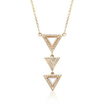 4.5-5.5mm Mother-Of-Pearl, .21ct t.w. Diamond Triple Triangle Drop Necklace