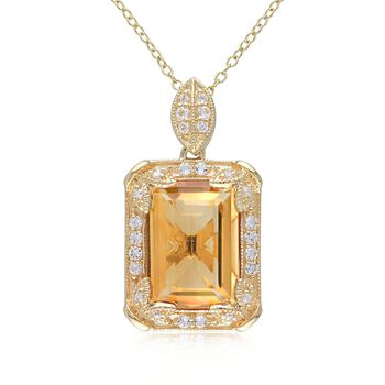 6.00ct Citrine, .44ct t.w. White Topaz Necklace, Diamonds Over Sterling