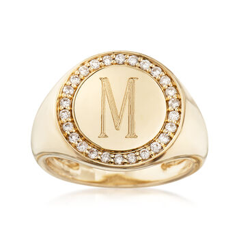 Personalized .26ct t.w. Diamond Signet Initial Ring in Gold