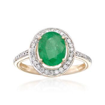 1.80ct Zambian Emerald, .25ct t.w. Diamond Halo Ring in Gold