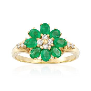 1.20ct t.w. Emerald, .20ct t.w. Diamond Flower Ring in Gold