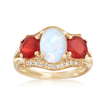 Australian White, Orange Opal Ring, Diamond Accents in Gold