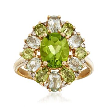 2.30ct t.w. Peridot, 1.80ct t.w. Green Prasiolite Ring in Gold