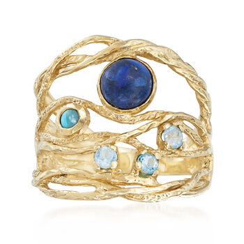 Lapis, Turquoise, .10ct t.w. Blue Topaz Openwork Ring in Gold