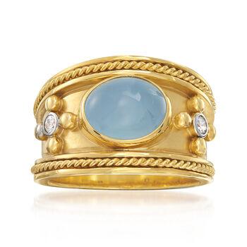 Mazza 3.22ct t.w. Aquamarine, .10ct t.w. Diamond Ring in Gold