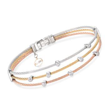 ALOR Classique .18ct t.w. Diamond Tri-Colored Cable Bracelet, Gold