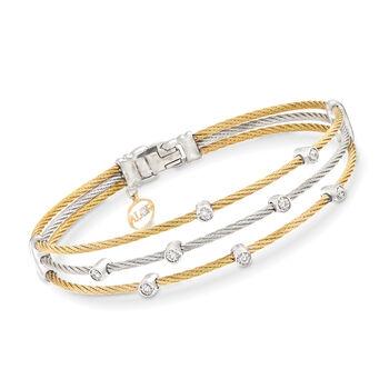 ALOR Classique .18ct t.w. Diamond Two-Tone Silver Cable Bracelet, Gold