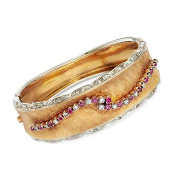 C. 1960 Vintage 1.05ct t.w. Ruby, .85ct t.w. Diamond Bangle Bracelet