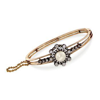 C. 1900 Vintage 9mm Cultured Pearl, 1.95ct t.w. Diamond Bangle Bracelet