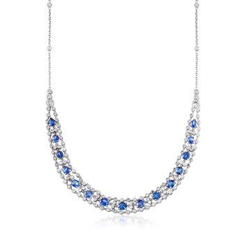 C. 1980 Vintage 9.30ct t.w. Sapphire, 3.75ct t.w. Diamond Necklace