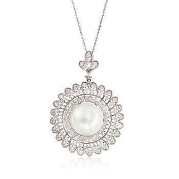 C. 2000 Vintage 13mm Cultured South Sea Pearl, 2.00ct t.w. Diamond Pendant N..