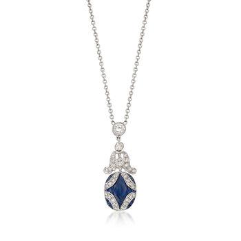 C. 2000 Vintage 1.50ct t.w. Sapphire, .65ct t.w. Diamond Drop Necklace