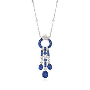 C. 2000 Vintage 11.21ct t.w. Sapphire, 1.28ct t.w. Diamond Drop Necklace