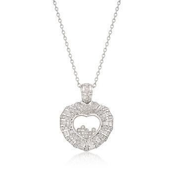 C. 1990 Vintage 3.00ct t.w. Floating Diamond Heart Pendant Necklace