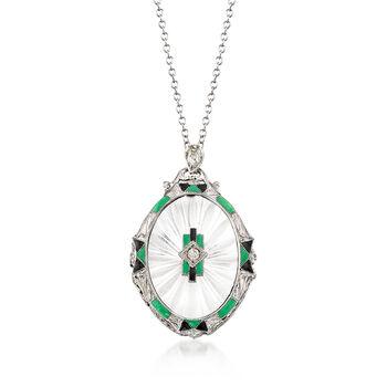 C. 1950 Vintage Rock Crystal, .12ct t.w. Diamond Pendant Necklace