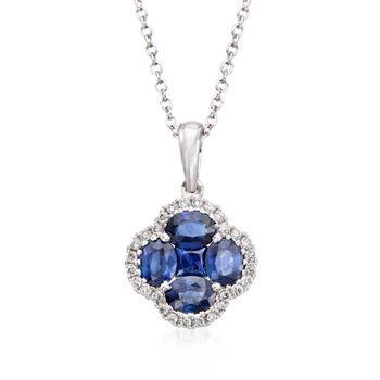 Gregg Ruth 1.43ct t.w. Sapphire, .14ct t.w. Diamond Clover Pendant Necklace