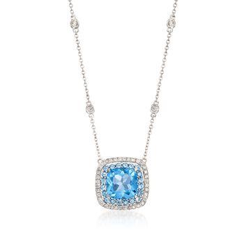 Gregg Ruth 3.20ct t.w. Blue Topaz, .27ct t.w. Diamond Necklace