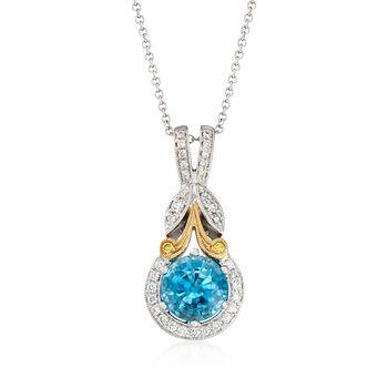 Simon G. 1.90ct Blue Zircon, .16ct t.w. Diamond Pendant Necklace