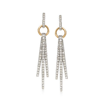 .48 ct. t.w. Diamond Triple Bar Drop Earrings in 14kt Two-Tone Gold