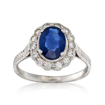 C. 2000 Vintage 1.26ct Sapphire, .25ct t.w. Diamond Ring in Gold