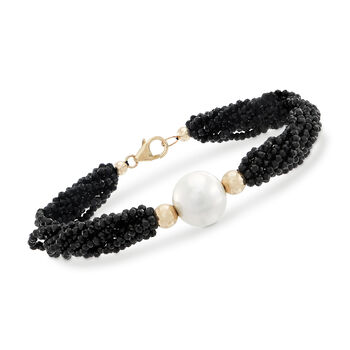 13-14mm Cultured Pearl, 75.00ct t.w. Black Spinel Bead Bracelet