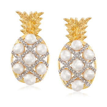 3-3.5mm Cultured Pearl, .15ct t.w. Diamond Pineapple Earrings Over Sterling
