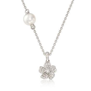 Mikimoto Cherry Blossom 5.5mm A+ Akoya Pearl, .13ct t.w. Diamond Floral Neck..