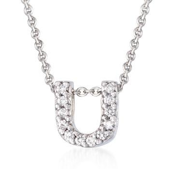 Roberto Coin Tiny Treasures Diamond Accent Initial U Necklace