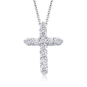 Roberto Coin Tiny Treasures .45ct t.w. Diamond Cross Necklace