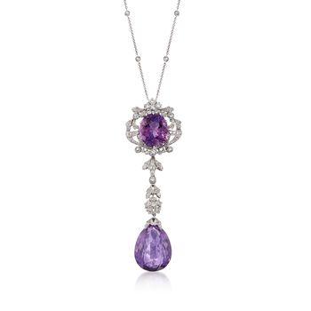 C. 1990 Vintage 30.00ct t.w. Amethyst Drop Necklace, 1.20ct t.w. Diamonds