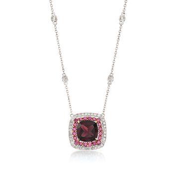 Gregg Ruth 1.91ct Garnet, .27ct t.w. Diamond Necklace, Rhodolites
