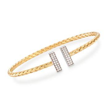 Charles Garnier Bella .30ct t.w. CZ Cuff Bracelet in Two-Tone Silver
