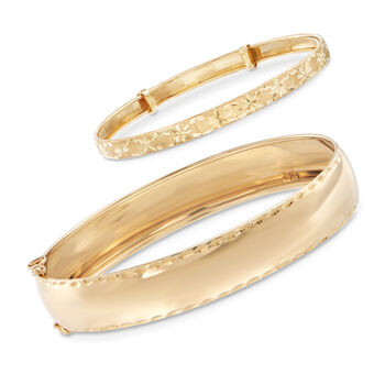 Mom & Me Bangle Bracelet Set of 2 in 14kt Yellow Gold
