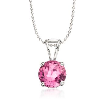 """2.50 Carat Pink Topaz Solitaire Necklace in 14kt White Gold. 16"""", , default"""