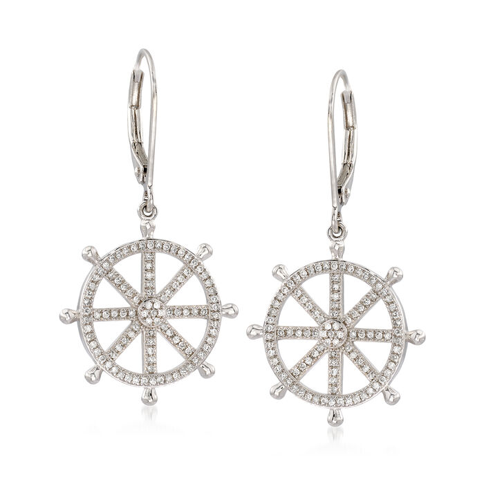 .45 ct. t.w. Diamond Ship Wheel Drop Earrings in Sterling Silver