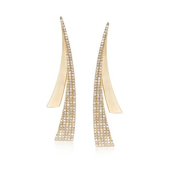 .34 ct. t.w. Diamond Sweep Curved Drop Earrings in 14kt Yellow Gold, , default