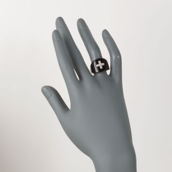 Black Onyx and .25 ct. t.w. Diamond Cross Ring in 18kt White Gold. Size 5, , default