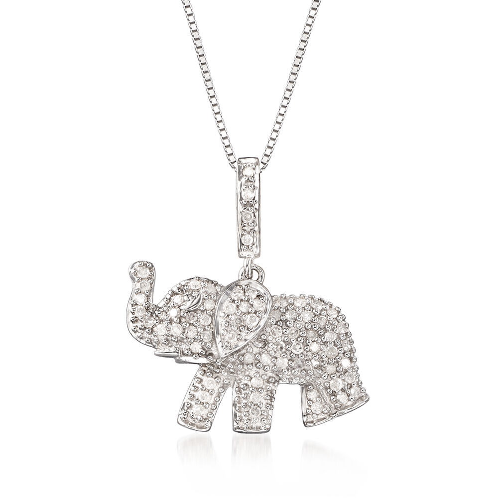 """4d4e83e7a .33 ct. t.w. Pave Diamond Baby Elephant Pendant Necklace in Sterling  Silver. 18"""" ."""