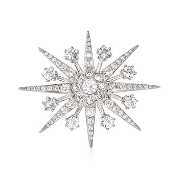 4.40 ct. t.w. CZ Star Pin Pendant in Sterling Silver