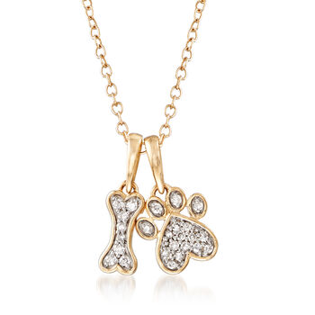 .10ct t.w. Diamond Dog Bone, Paw Pendant Necklace in 14kt Yellow Gold