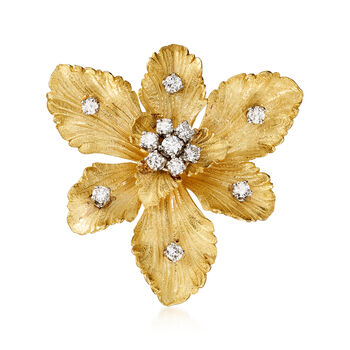 C. 1980 Vintage 1.05ct t.w. Diamond Flower Pendant Pin in Gold