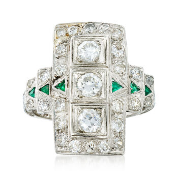 C. 1950 Vintage 1.20ct t.w. Diamond, Synthetic Emerald Ring