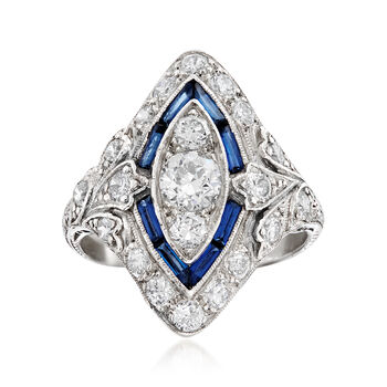 C. 1950 Vintage 1.15ct t.w. Diamond, .50ct t.w. Simulated Sapphire Ring