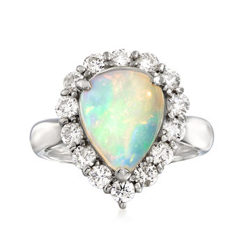 C. 2000 Vintage Opal and 1.02 ct. t.w. Diamond Ring in Platinum