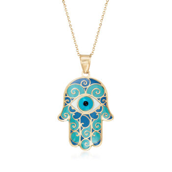 Blue Enamel Hamsa Hand Pendant Necklace in 14kt Yellow Gold