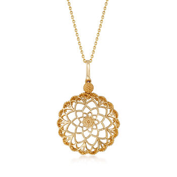 14kt Yellow Gold Cut-Out Flower Pendant Necklace
