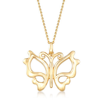 14kt Yellow Gold Cut-Out Butterfly Pendant Necklace
